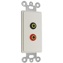 Connectronics DVC-401 White Decora Wall Plate with 2 Gold Banana Plugs