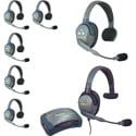 Eartec HUB7SMXS 7 Person Hub Series with Plug-in Max 4G Single Headset & 6 UltraLITE Headsets with Li-Ion Batteries