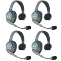 Eartec UL4S UltraLITE 4 Person Intercom System with 4 Single Headsets and Li-Ion Batteries