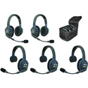 Eartec UL523 UltraLITE 5 Person Intercom System w /  2 Single & 3 Double Headsets  /  Lithium-Ion Batteries  /  Charger & Case
