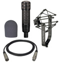 Electro-Voice RE320 Mic 309A Suspension Mount WT20421-01 Foam Windscreen and XLM-XLF-15 15ft Mic Cable Kit