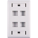 HellermannTyton FPIQUAD-W Four Port Flushmount Keystone Wall Plate with ID Window White