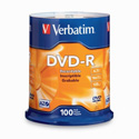 Verbatim 16x DVD-R Media - 100pk 4.7gb Branded Spindle