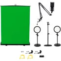 ikan HomeStream Video Kit 4 w/ 2 Desktop Lights/Pull-Up Green Screen/HDMI Capture Device/Camera Stand/Podcast Mic