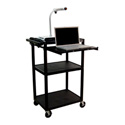 Luxor LP42LE-B Plastic Computer Workstation Cart with Electric and Laptop Shelf 42Hx24W