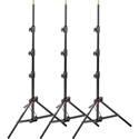 Manfrotto 1051BAC-3 Black Aluminum Mini Compact Stand - 3 Pack