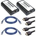 HDMI Over IP Extender Transmitter & Receiver Complete Cable Kit with CAT6/HDMI Cables