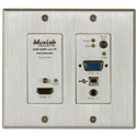 MuxLab 500777-TX-WH HDMI/VGA/USB over IP PoE Wall Plate Transmitter - UHD-4K - White