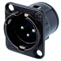 Neutrik NC3MD-V-B 3-Pin XLR Male Vertcial PCB Panel Mount Connector - Black/Gold