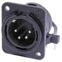 Neutrik NC4MDM3-H-BAG 4-Pin XLR Male Horizontal PCB M3 Mount - Black/Silver