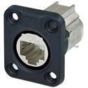 Neutrik NE8FDX-Y6-W D-shape CAT6A Panel Connector - Shielded/ IDC Termination/ Rubber Sealing / IP65 When Mated - Nickel