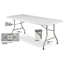 BT-3072 Plastic Blow Molded Grey Rectangle Folding Table 30inx72in