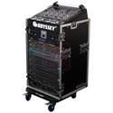 Odyssey Cases FZ1016W ATA Combo Rack - 10U Slant 16U Vertical with Wheels