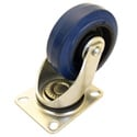 Penn-Elcom W8990 4 Inch Swivel Bearing Caster w/Blue Rubber Wheel Zinc