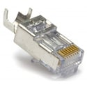 Platinum Tools 100022C EZ-RJ45 CAT5/5e/6 Shielded Connectors w/ External Ground - Solid or Stranded - 50pk Clamshell