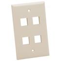 Platinum Tools 604LA-25 Wall Plate - Standard - 4 Port - Lt Almond - 25pc/Installer Pack