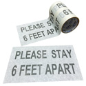 Pro Tapes PRO 4000 - 6x10 Please Stay 6 Feet Apart Social Distancing Stickers - White - PPE