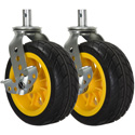 RocknRoller RCSTR8X3 8 Inch x 3 Inch Ground Glider Wide Caster with Brake upgrade for R12 - 2 Pack - Yellow Hub