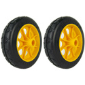 RocknRoller RWHLO6X15 6 Inch x 1.5 Inch R-Trac Rear Wheel for RMH1/R2 - 2 Pack - Yellow Hub
