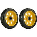RocknRoller RWHLS8X2 8 Inch x 2 Inch R-Trac Symmetrical Wheel for R12 Caster - 2 Pack - Yellow Hub