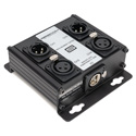 Sescom SES-4X2M2F-CATBX 4 Channel Passive Balanced Audio Extender over CAT 5/6/7- RJ45 to 2 Male & 2 Female XLR