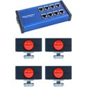 Skaarhoj ETH-TALLY-LINK-V2-x4 Tally Box plus 4 Tally Lights Bundle