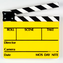 SLT-11 Director Slate Clapboard - Yellow Film Slate with Black & White Sticks