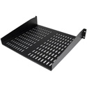 Startech CABSHELFV 2U 16in Universal Vented Rack Mount Cantilever Shelf - Fixed Server Rack Cabinet Shelf
