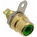 Switchcraft BPJF06AU RCA Front Mount Jack - Female to Solder Rear - Gold / Green
