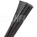 TechFlex F6N0.75BK-100 F6 Flexible Semi-Rigid Wrappable Split Braided Cable Sleeving - Black- 100 Foot