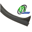 Techflex F6V0.38TB - F6 Flame Retardent Woven Wrap 3/8 in. Diameter - Black w/ White Tracer - 100 Ft.