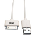 Tripp Lite M110-003-WH USB Sync/Charge Cable with Apple 30-Pin Dock Connector White 3 feet (1 m)