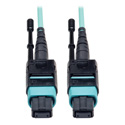 Tripp Lite N844-01M-12-P MTP/MPO Patch Cable with Push/Pull Tabs 12 Fiber 40GbE 40GBASE-SR4 OM3 Plenum-Rated - Aqua 3 ft