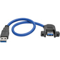 Tripp Lite U324-001-APM USB 3.0 SuperSpeed Panel-Mount Type-A Extension Cable (M/F) 1 Foot