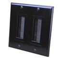 Vanco 120828X 2-Gang Decor Style Brush Bulk Cable Wall Plate Black