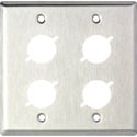 MCS WP2/4X 2-Gang Stainless Steel Wall Plate w/ 4 D-Series Cutouts