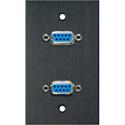 My Custom Shop WPBA-1143 1-Gang Black Anodized Wall Plate w/ Two 9-Pin D-Sub Barrels