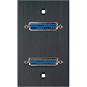 My Custom Shop WPBA-1151 1-Gang Black Anodized Wall Plate w/ Two 25-Pin D-Sub Female Barrels