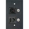 My Custom Shop WPBA-1183 1-Gang Black Anodized Wall Plate w/ 1-RJ45/1-RJ11 & 2- FJ-FJCM Barrel Connectors