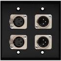 My Custom Shop WPBA-2109-COMBO 2-Gang Black Anodized Wall Plate w/ Neutrik Dual 3-Pin XLR-M & Dual XLR-F