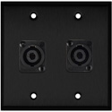 My Custom Shop WPBA-2118 2-Gang Black Anodized Wall Plate w/ 2 Neutrik NL4MP -D-Series 4 Pole speakON