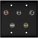 My Custom Shop WPBA-2121 2-Gang Black Anodized Wall Plate w/ 5 BNC RGBHV Barrels