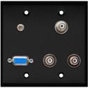 My Custom Shop WPBA-2122 2-Gang Black Anodized Wall Plate w/ 1-HD15F/3-RCA Barrels and 1 -3.5 Stereo Mini Jack