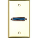 My Custom Shop WPBR-1150 1-Gang Brass Wall Plate w/ 1 25-Pin D-Sub Female Barrel