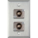 1-Gang Stainless Steel Wall Plate with 2 Canare BCJ-JRU BNC Feed-Thrus