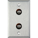 1-Gang Stainless Steel Wall Plate with 2 RCA Feed-Thru Barrels