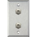 MCS WPL-1108 1-Gang Stainless Steel Wall Plate w/ 2 F-Connector F-F Feedthrus