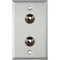 1-Gang Stainless Steel Wall Plate with 2 1/4-Inch TRS Phone Jacks