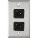 1G Stainless Steel Wall Plate w/2 Neutrik 3-Pin XLR-M-Terminal Blocks