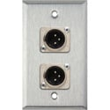 1-Gang Stainless Steel Wall Plate w/2 Neutrik 3-Pin XLR-M Connectors